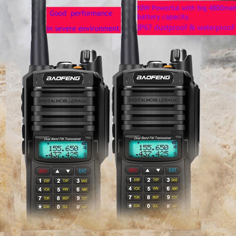 2pcs wakie talkie IP67 Dustproof Waterproof CB Radio Communicator baofeng uv 9r plus for hf 2