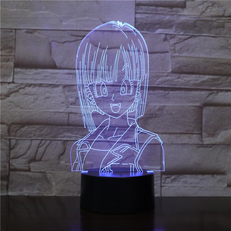 Bulma DRAGON BALL Z Children's Night Light LED Touch Sensor Bedroom Decorative Lamp Holiday Gift for Kids 3D Night Lamp USB Lamp