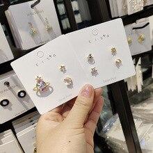 Korean Little Cute Zircon Pearl Moon Star Planet Anti-allergy Sweet Woman Girls Stud Earrings Fashion Jewelry Holiday-JQD5-W2