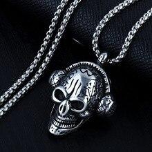 HNSP 316L Stainless Steel Chain Skull Pendant Necklace For Men Male Hip Hop Jewelry vintage 316l stainless steel skull skeleton necklace pendant for motorcycle party punk gem necklace hip hop men jewelry