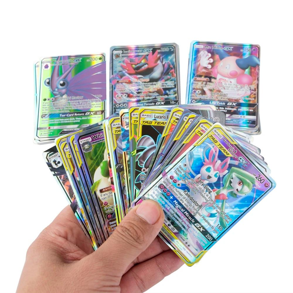 100 pcs//Box Pokeon cards Vmax Team Tags GX Cards Game Toys