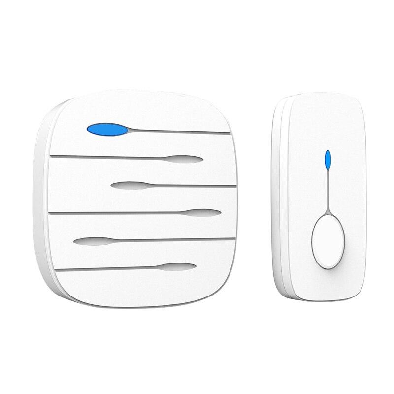 AMS-Ip55 Wireless Doorbell Waterproof Smart 32 Melody Ring Door Bell 1 Push Doorbells Button + 1 Receivers Vc110-220V(Eu Plug)