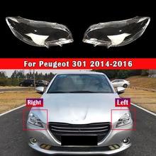 Car Headlamp Lens For Peugeot 301 2014 2015 2016 Car Headlight Lens Auto Shell Cover Transparent Lampshade Auto Head Lamp Light
