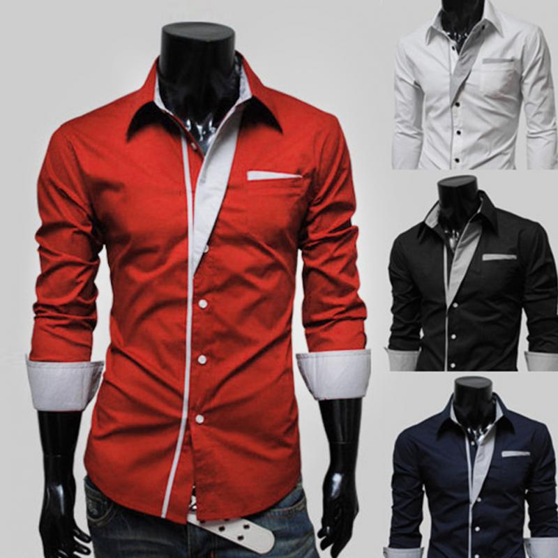 Clearance Sale Solid Slim Fit Long Sleeve Business Smart Casual Male Blouse Dress Shirt Men