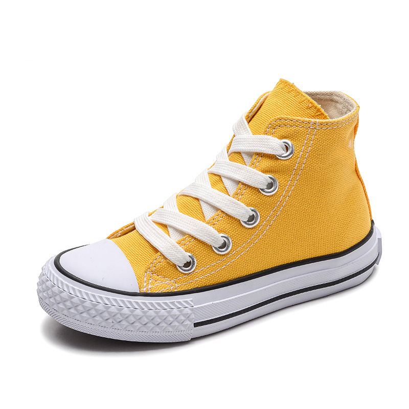 White Yellow Children Canvas Shoes Breathable High-Top Casual Shoes Kids Boys Girls Fashion Sneakers Toddler Canvas Shoes