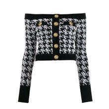 高品質新ファッション 2020 デザイナージャケット女性のライオンボタンバックジップスラッシュネックツイード千鳥格子ジャケットトップ
