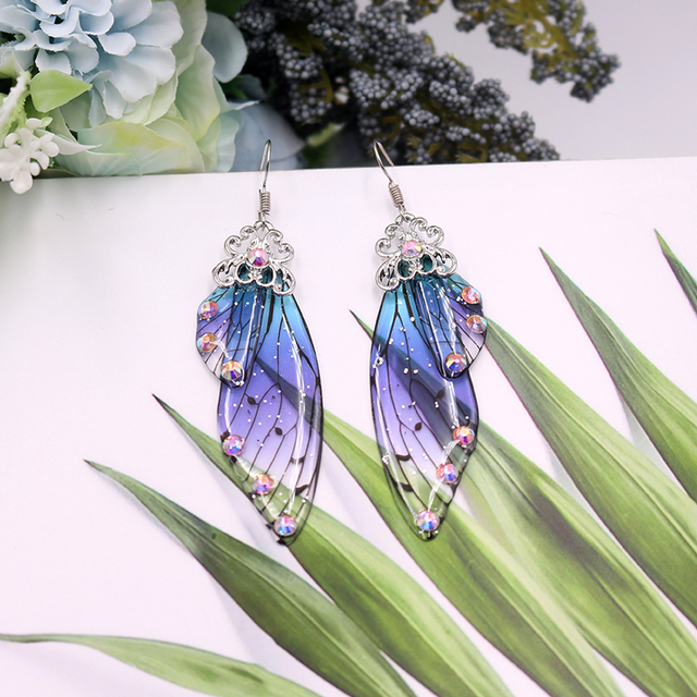 Handmade Fairy Simulation Wing Earrings Insect Butterfly Wing Drop Earrings Foil Rhinestone Earrings Romantic Bridal Jewelry 5