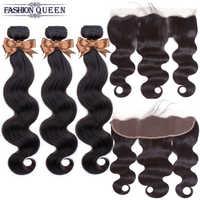 Extensiones de cabello humano malayo, 3 uds., con cierre Frontal, mechones de pelo ondulado con cierre de oreja a oreja, remy Fashion Queen
