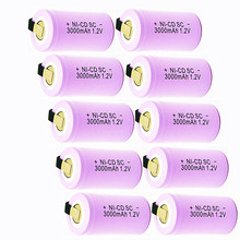 цена на TBUOTZO 10PCS/LOT Sub C SC 1.2V 3000mAh Ni-Cd Ni Cd Rechargeable Battery Batteries PINK color Free shipping