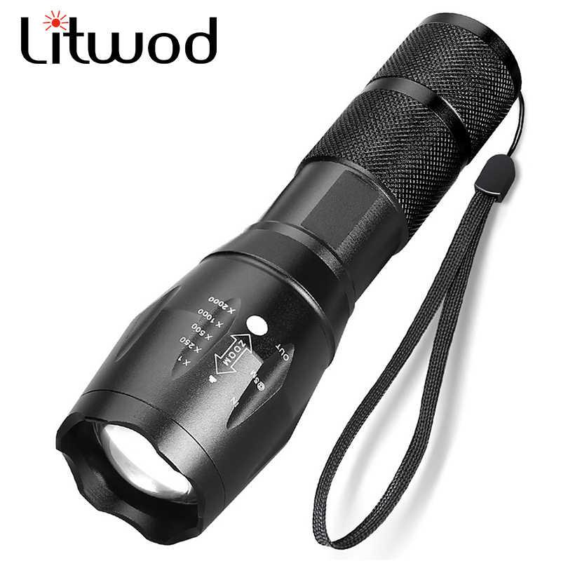Xm-l l2 5000lm alumínio à prova dwaterproof água zoomable cree led lanterna tocha luz tática para 18650 bateria recarregável ou aaa