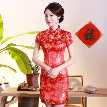 Red Sexy Print Flower Qipao Chinese Style Women Classic Slim Cheongsam Vintage Button Short Sleeve Vestidos Satin Dress