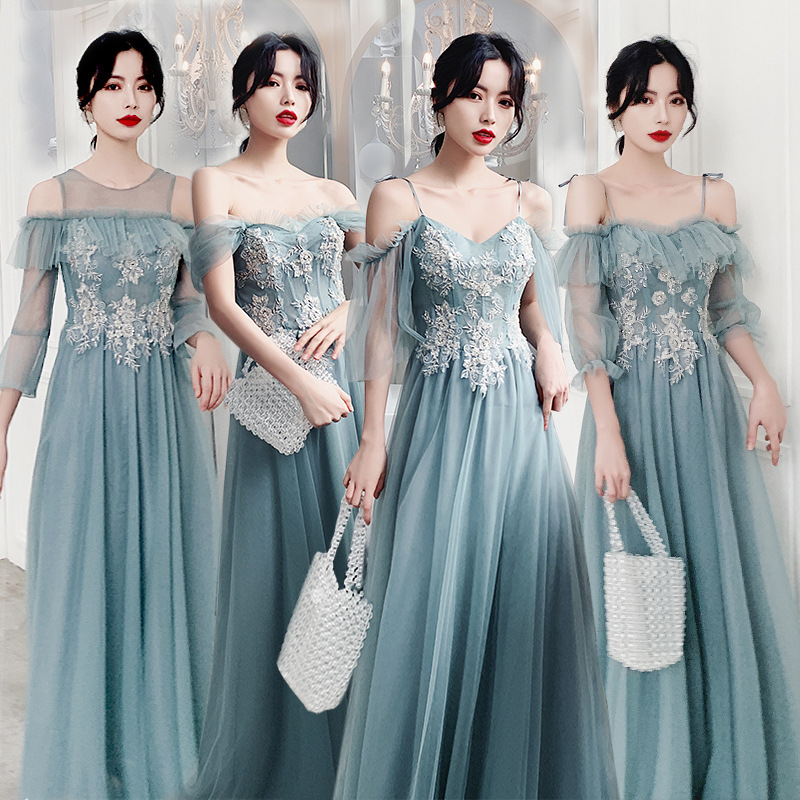 Formal Bridesmaid Dresses Embroidery Pattern Lace Wedding Guest  Vestidos Sexy Spaghetti Straps Floor Length Women Dress R035