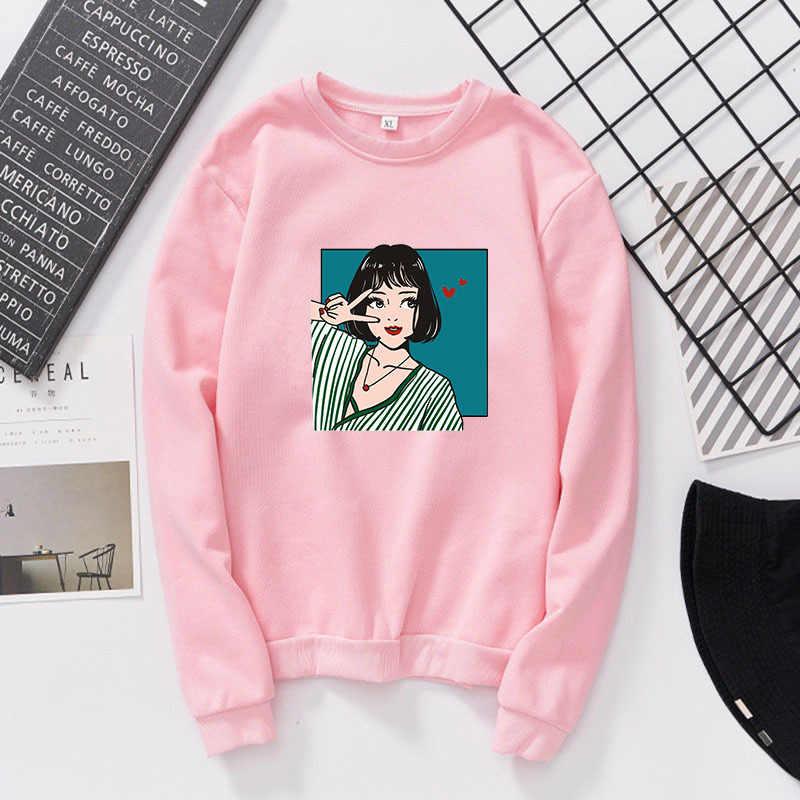 Новинка 2019 года; осенние женские пуловеры с принтом для девочек; толстовки с круглым вырезом и длинными рукавами; женские спортивные костюмы; повседневные топы; джемпер; sudaderas mujer