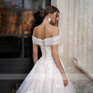 Image 4 - Baziingaaa vestido de boda de lujo, con aplique para hombro, de encaje, Sexy, sin espalda, para novia americana, a medida