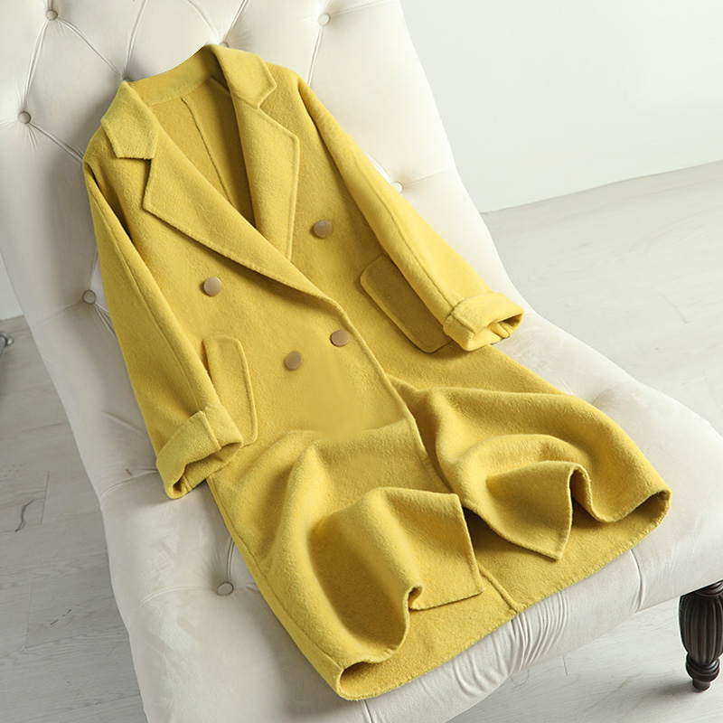 2020 new double faced wool overcoat women's coat mid long anti season suit with thin collar and slim fit Korean version