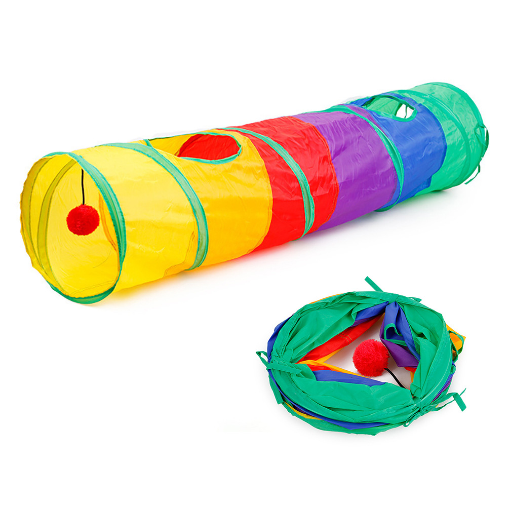 Funny Colorful Pet Cat Tunnel Toys for cats Foldable Cat Toys Interactive Cat Rabbit Animal Play Games Kitty Kitten Products