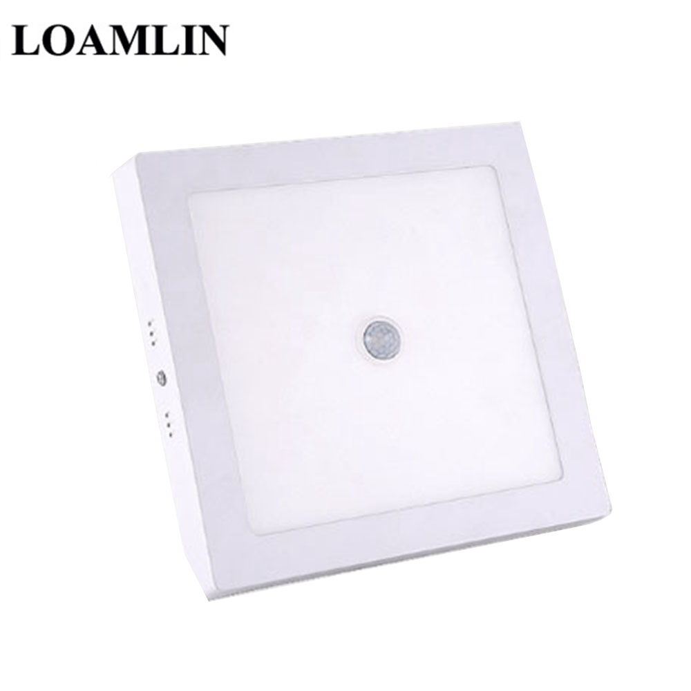 Ceiling Lamp PIR Human Body Motion Sensor Induction Downlight AC 220V 6W/12W/18W/24W Square LED Ceiling Panel Light