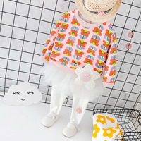 Autumn Toddler Baby Girl Clothes Set Long Sleeve Flowers Hoodie+Gauze Culottes 2 Pieces Newborn Outfit Lovely Cotton Infant Suit
