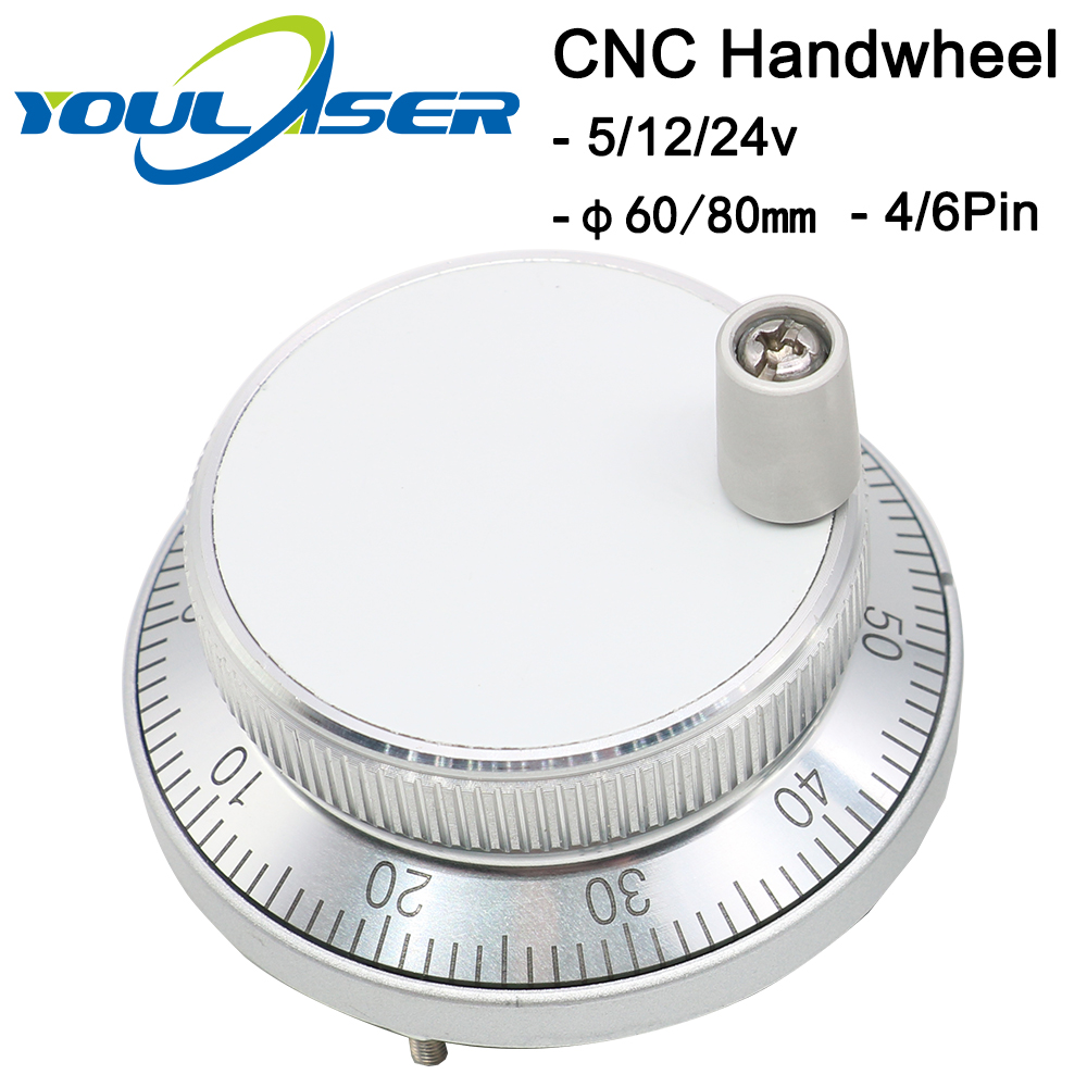 CNC Pulser Handwheel 5V 6pin Pulse 100 Manual Pulse Generator Hand Wheel CNC Machine 60mm 80mm Rotary Encoder Free Shipping