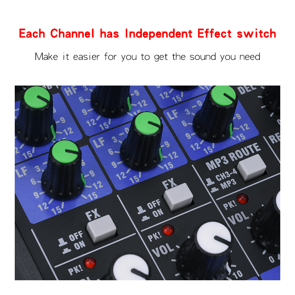 EYK EMC-G04 Audio Mixing with UHF Wireless Microphone 4 Channel Stereo Mixer Console Bluetooth USB for DJ Karaoke PC Record 4