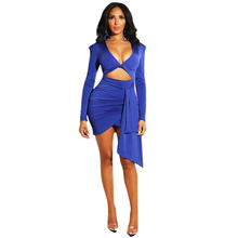 Women Sexy V Neck Bodycon Dresses Club Solid Mini Long Sleeve Dress V-Neck Women Clothes 2019 Elegant Ladies Sexy Party Dress surplice v neck bodycon dress
