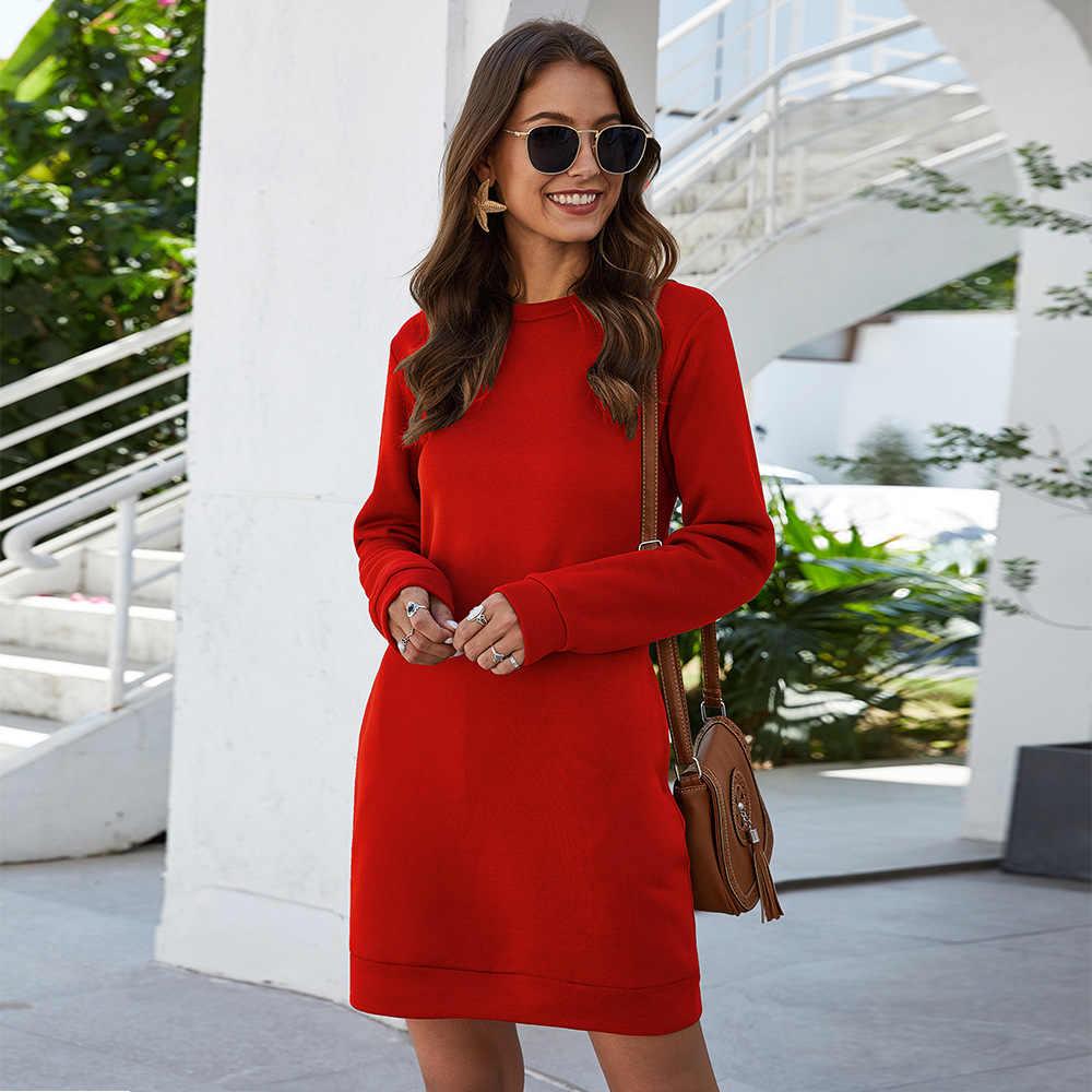 Vestiti delle donne di Autunno Inverno Manica Lunga Plue Formato O-Collo Caldo Allentata della Tasca di Colore Solido Vestiti delle Donne 2020 di Modo nuovo Caldo