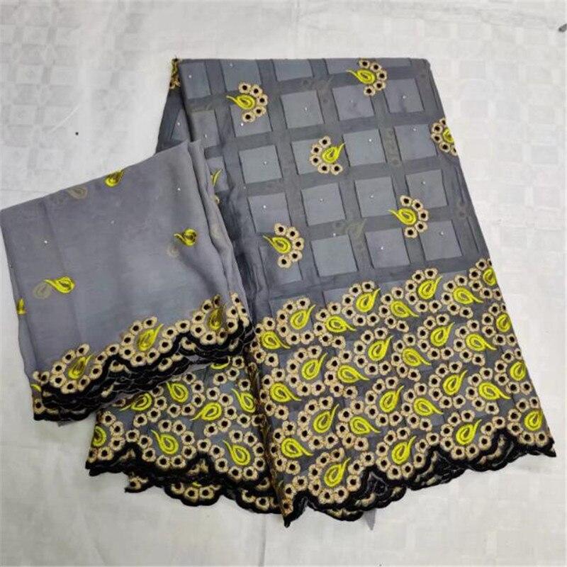 5 + 2 yards africain gris suisse coton dentelle tissu broderie suisse Voile dentelle Dubai suisse Voile dentelle suisse avec Scarf-CYE30
