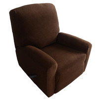 Anself High Quality Elastic Soft Polyester Spandex One Seater Recliner Cover Brown