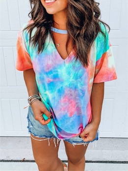 cut out v neckline knot front tee Hollow Out T-shirt Tie Dye Tops Tee Women Summer Short Sleeve 2020 harajuku camiseta mujer tee shirt femme streetwear v-neck tee