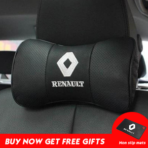 Image 1 - Car Neck Pillow Genuine Leather Seat Head rest Pillows Cushion For Renault BMW Toyota Nissan Volkswagen Mazda Hyundai Honda Kia