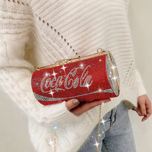 Red Purse Chain Crossbody-Bag Evening-Bag Can-Shape Mini Clutch Party-Diamonds Designer