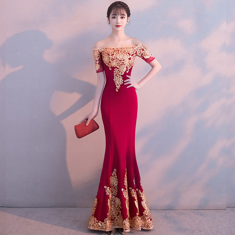 Evening Dress Boat Neck Short Sleeve Women Party Dresses Off The Shoulder Robe De Soiree 2019 Sequin Elegant Formal Gowns F201