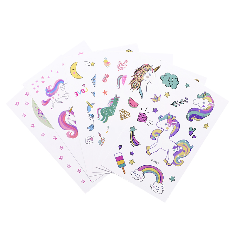 5pcs Cartoon Unicorn Theme Tattoo Stickers Temporary Animal Rainbow Pattern Paster Kids Birthday Party Supplies DIY Decoration-1