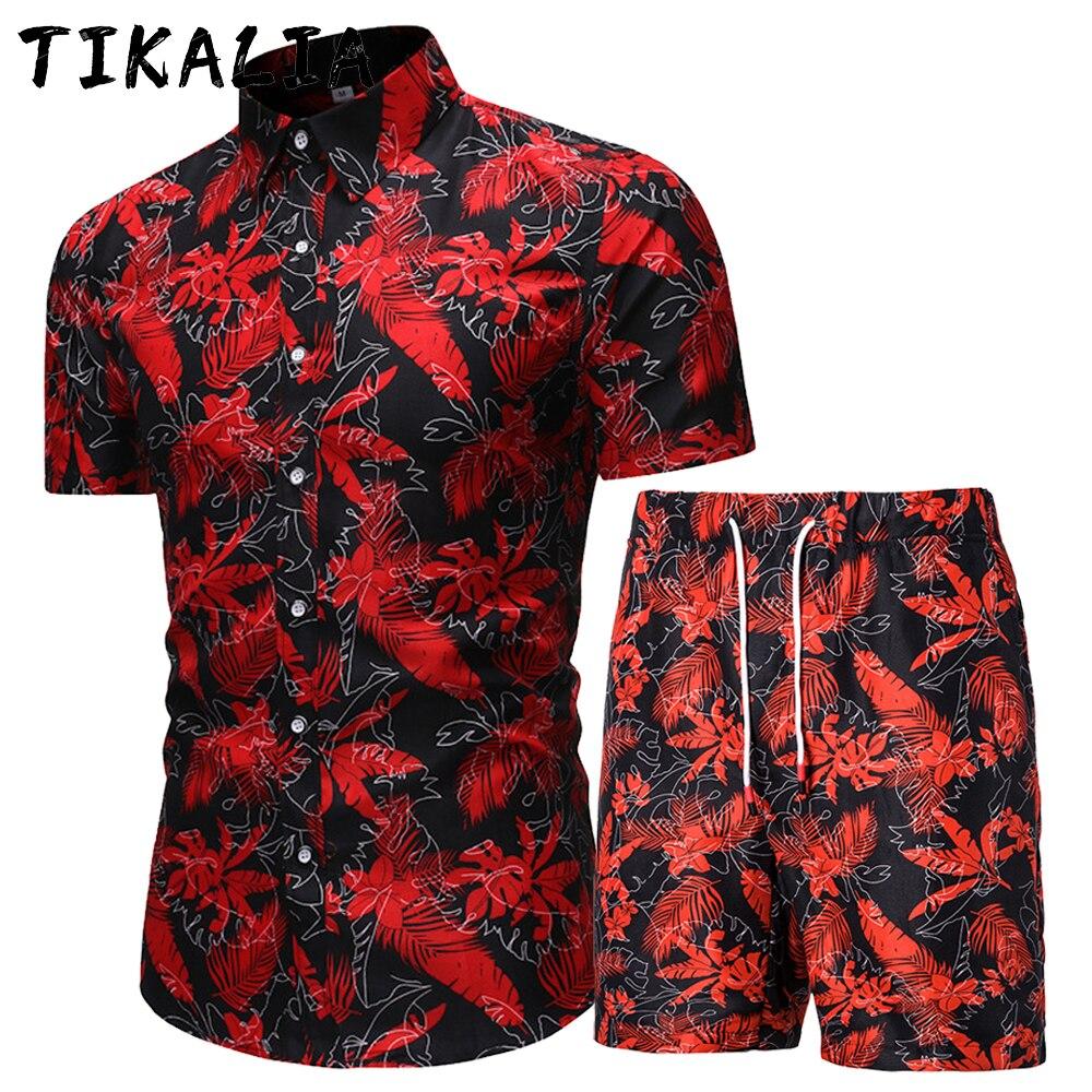 Комплект из гавайской рубашки и шорт для мужчин, пляжная одежда с цветочным принтом, праздничный наряд для отдыха, комплект из двух предмето...