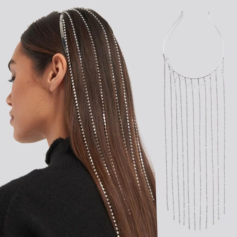Stonefans Fashion Tassel Headband Hair Hoop Rhinestone Jewelry For Women Bridal Silver Crystal Head Chain Tiara Hair Jewelry