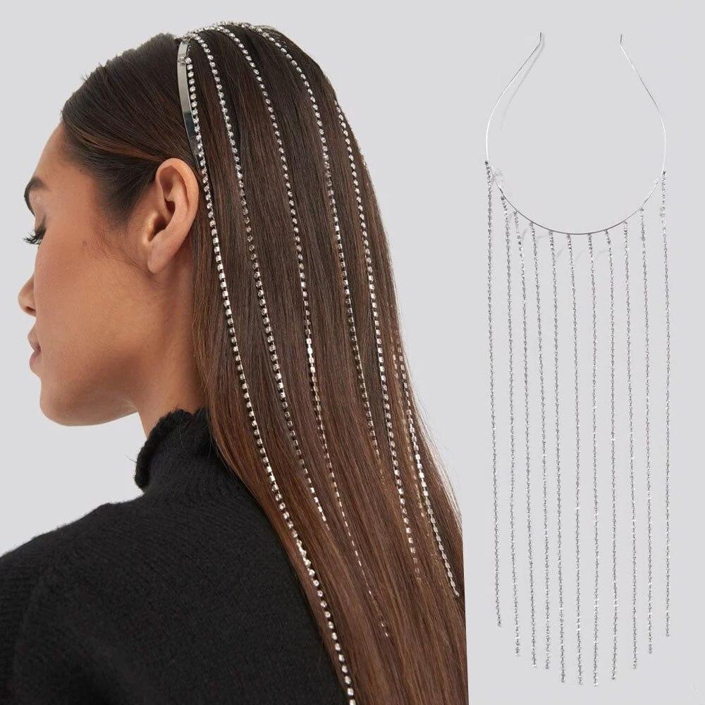 Stonefans, diadema larga de moda con borlas, Aro para el pelo, joyería de diamantes de imitación para mujer, cadena cabeza de cristal, Tiara de joyería para el pelo