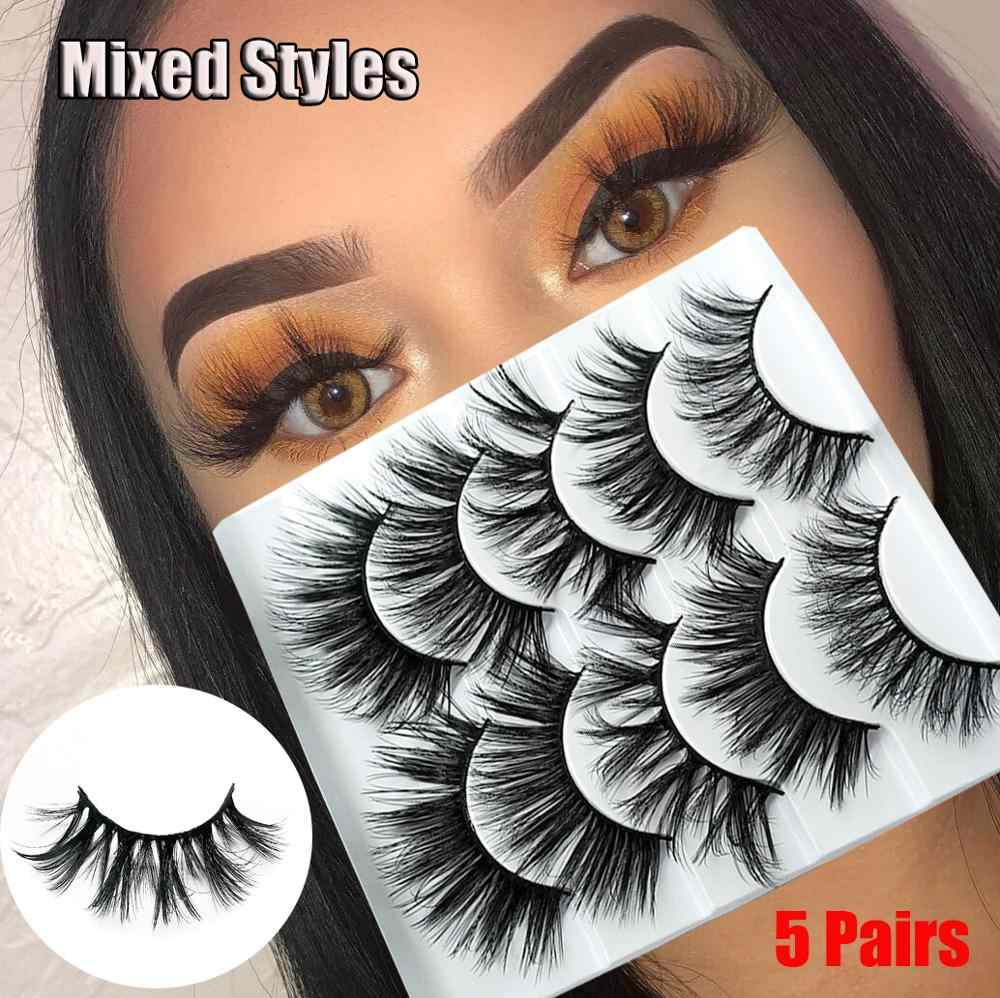 New1/5/10Pairs Handamde Cruelty-free Natural Thick Fluffy lashes 3D Faux Mink Hair False Eyelashes Extension Beauty Makeup Tools