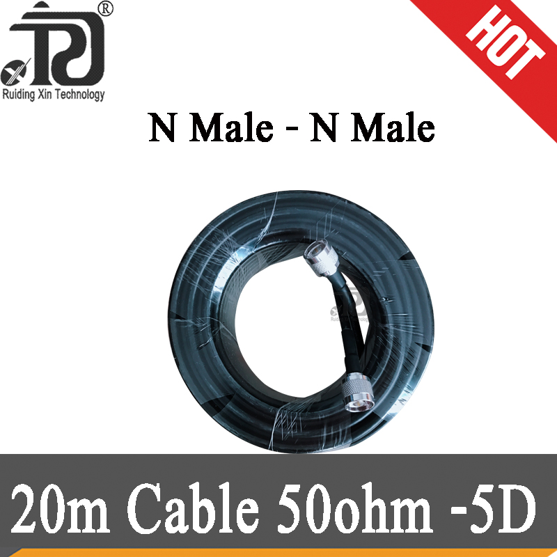 20 Meters 50ohms Cable N Male Connector Low Loss 50-5 Black 20M Cable Connect With Outdoor/Indoor Antenna And Signal Booster