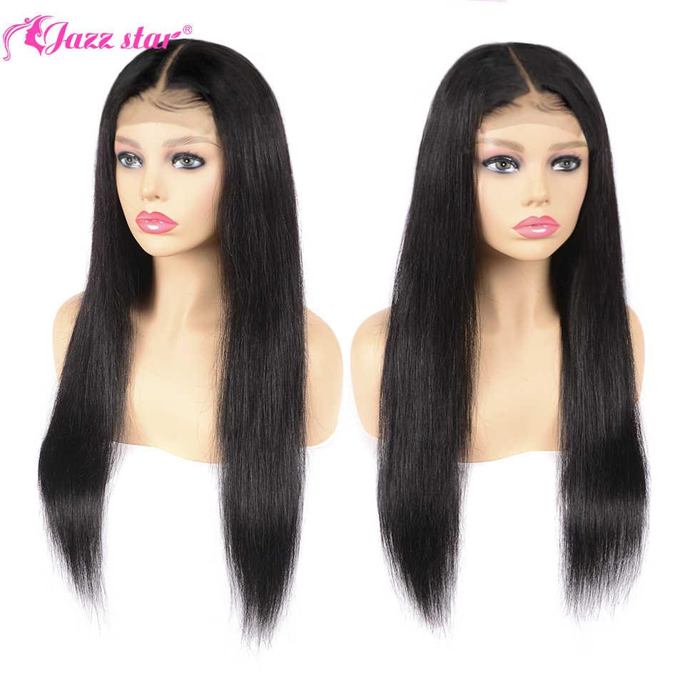 Brazylijski 4*4 zamknięcie koronki peruka proste włosy ludzkie peruki dla czarnych kobiet nie Remy Jazz Star 150% gęstość koronkowa peruka z włosów dziecięcych
