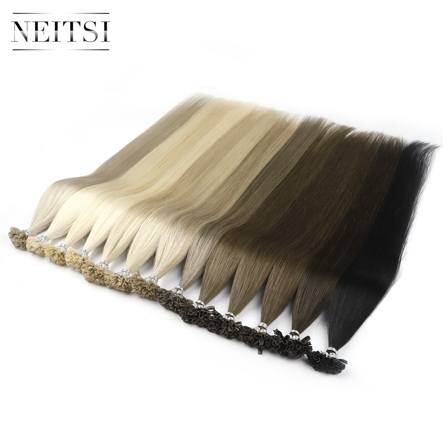 Neitsi Pre Bonded Nail U Tip Machine Made Remy Human Fusion Hair Extensions Straight Keratin Capsules 28