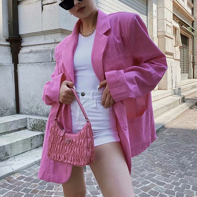 ZXQJ Women Cool Pink Blazer 2021 Summer Fashion Ladies Sexy Thin Cotton Jackets Elegant Female Chic Suits Casual Girls Cute Top 5