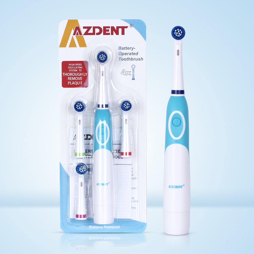 AZDENT Hot Rotatory Electric Toothbrush with 4 Replacement Heads Deep Clean Battery Operated Tooth Brush Teeth Whitening Adults image
