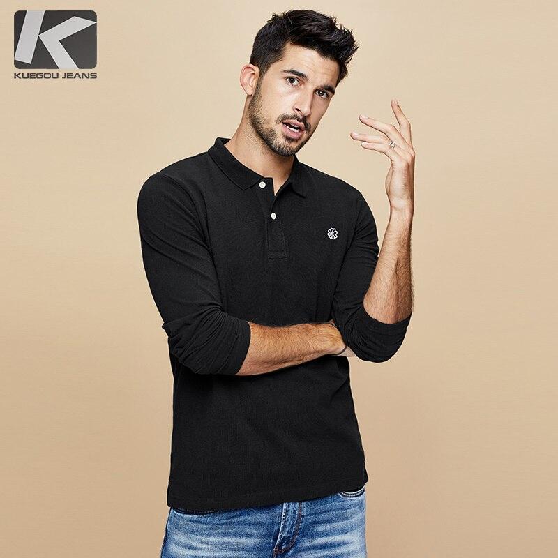 KUEGOU 2019 Autumn 100% Cotton Embroidery Black Polo Shirt Men Fashions Long Sleeve Slim Fit Poloshirt Male Clothes Brands 2626