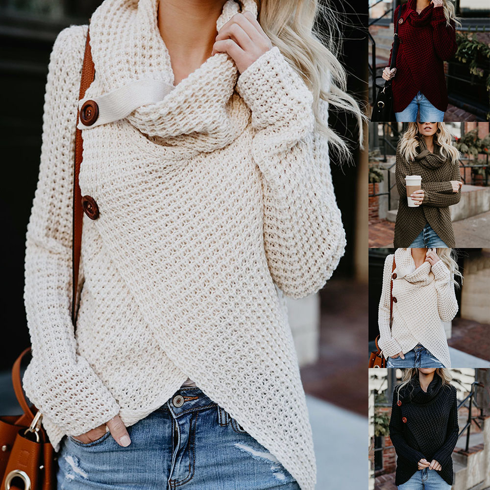 Women Turtleneck Sweater Autumn Causal Loose Buttons Knitted Female Pullover Fashion Irregular Solid Plus Size Jumper Sweaters