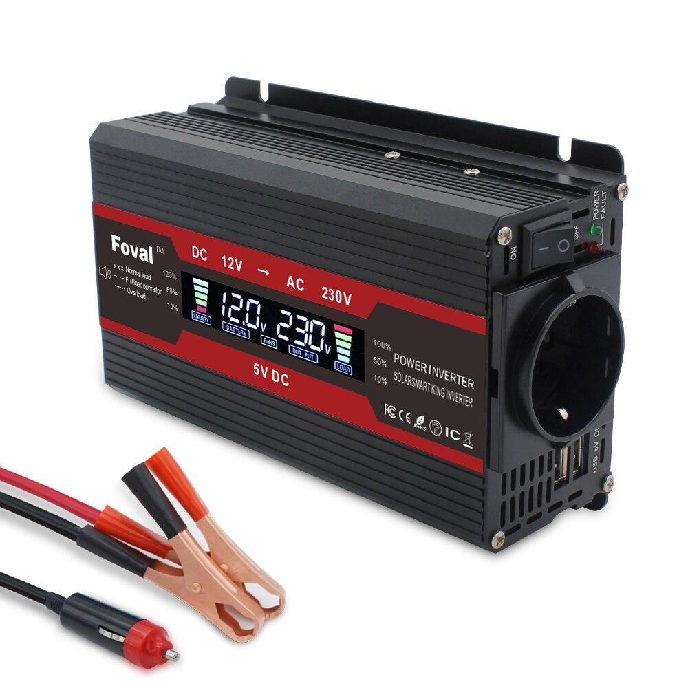 Автомобильный инвертор 4000 Вт пик постоянного тока 12V к переменному току 220V изменение ЖК-монитор Синусоидальная волна дисплей на солнечной б...