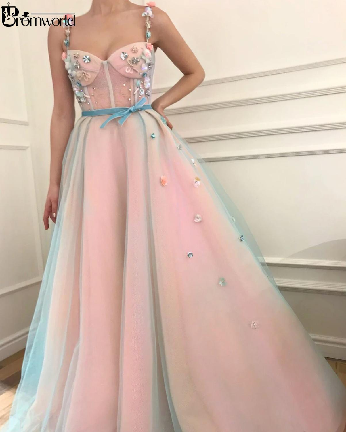 Sweetheart Flowers Pink Prom Dresses Long 2020 Crystal A-Line Robe De Soiree Spaghetti Straps Tulle Evening Dress Prom Gowns