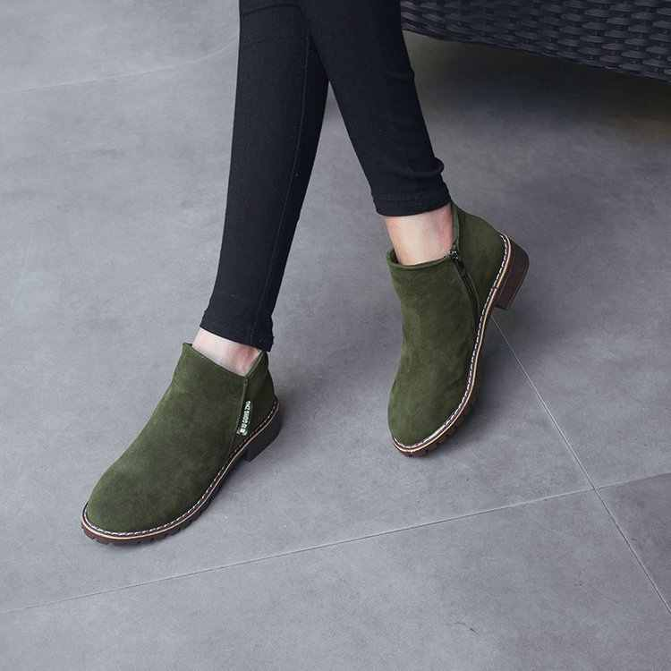 Dropshipping 2019 nuevas botas Martin para mujer Otoño Invierno botas clásicas con cremallera nieve tobillo botas invierno gamuza cálido Piel de felpa para mujer