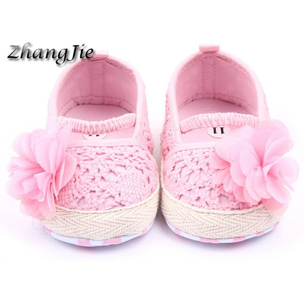 New Baby Girls Flower Princess Knittng Crocheted Crib Shoes Infant Toddler Pre Walker Summer Shoes 0-12Months 0-18Months