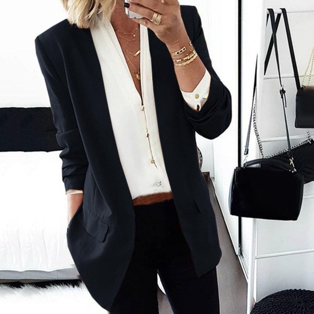 Office Lady Autumn Solid Color Slim Lapel Long Sleeve Blazer Cardigan Work Jacket Solid Color Slims Fit Office Wear Jacket Blaze