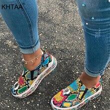 New Woman Flat Snake Skin Sneakers Women Autumn Slip On Plat